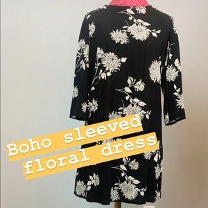 Boho Black Floral Dress - size 4 (EUC)